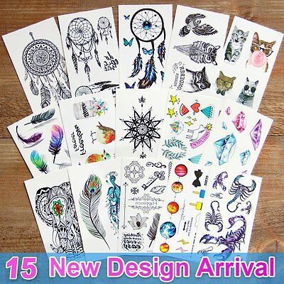 Temporary Tatoos For Kids (15 Sheets Temporary Tattoos Body 3d Tattoo Sticker for Men Women Kids Fake)