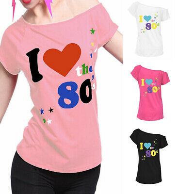 I Love The 80's T-Shirt Fancy Dress Retro Outfit Hen Party Top Plus Size (80 S Outfits)