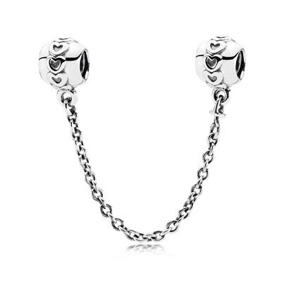 New Authentic Genuine Pandora Silver Charm Love connection safety chain - 791088