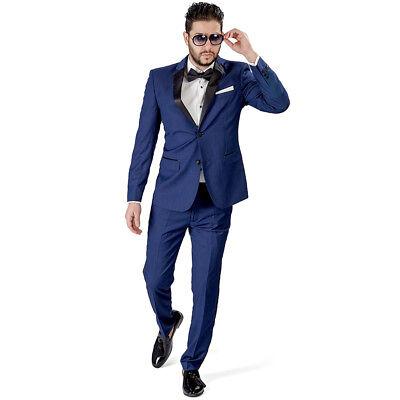 Navy Blue Slim Fit Suit Tuxedo 2 Button Satin Collar Flat Front Pants Azar Man ()