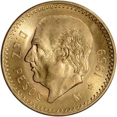 1959 Mexico Gold 10 Pesos (.2411 oz) - BU