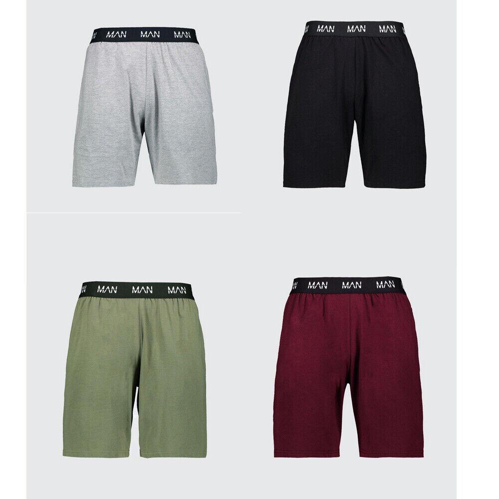 Pantaloncini da Uomo Ragazzi Grigio Twin Pack Lounge Jersey Pigiama NIGHTWEAR Pigiameria Medium