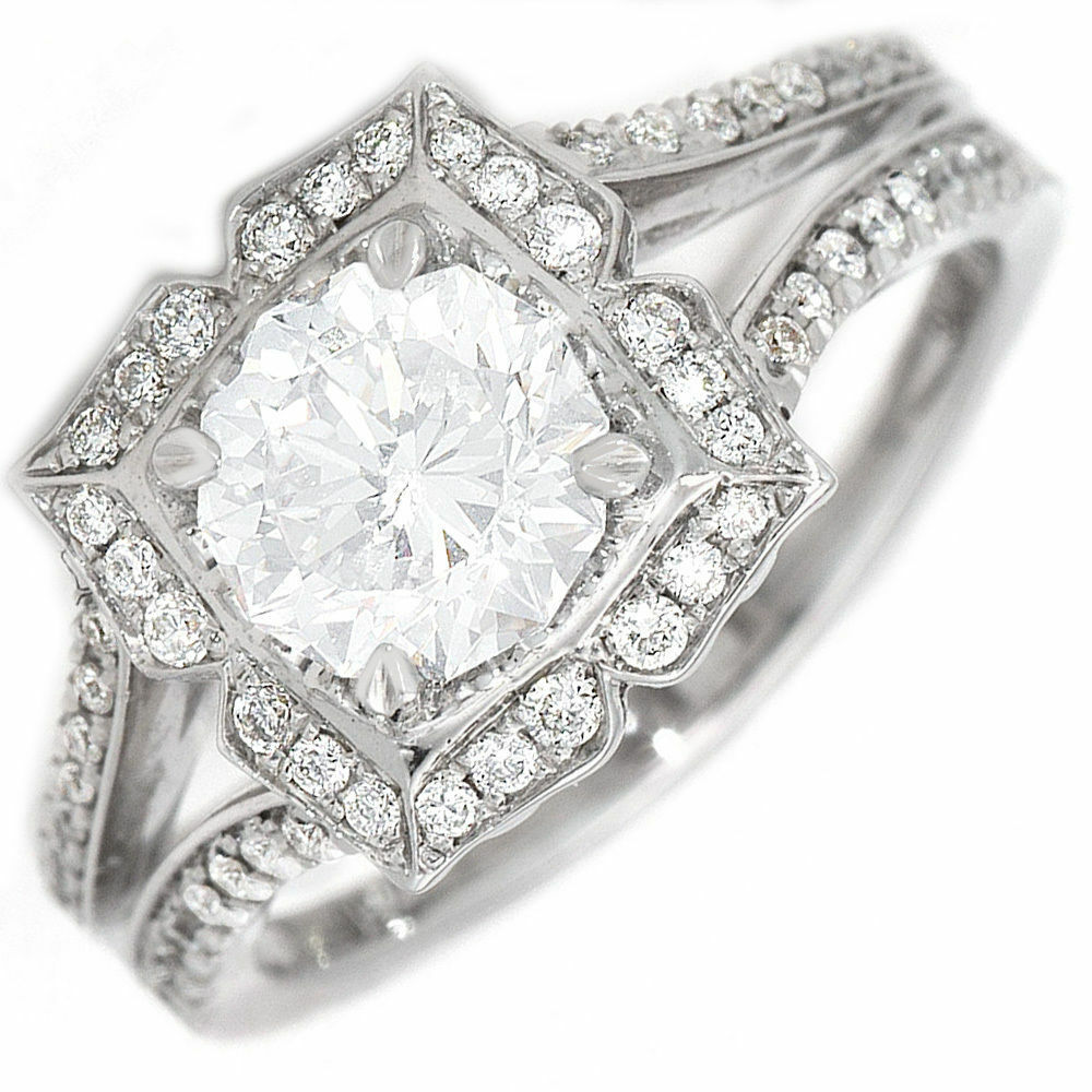 GIA Certified 1.93 CTW Round Cut Diamond Engagement Ring 14k White Gold
