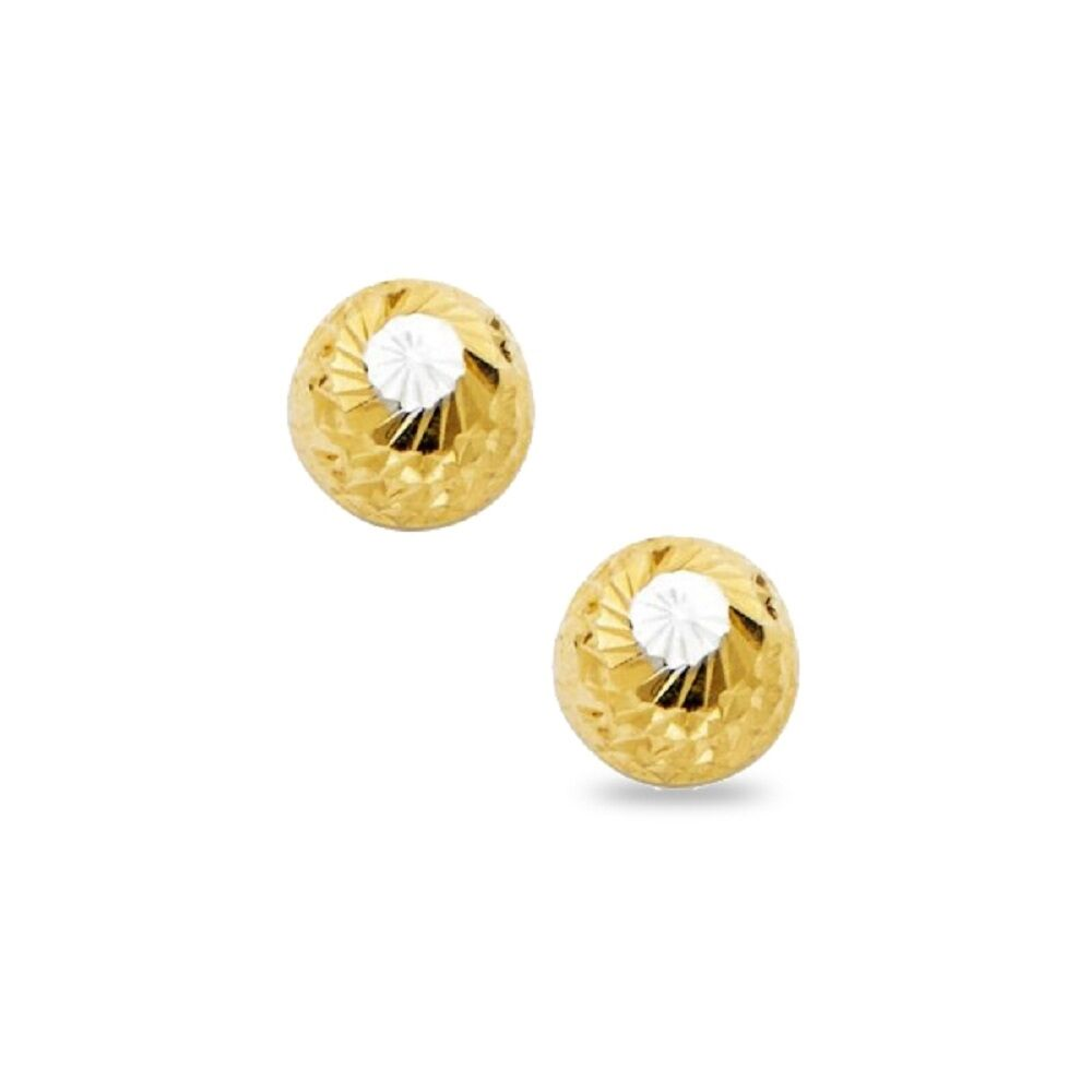 Wellingsale 14K Yellow Gold Polished Sphere Stud Earrings With Screw Back