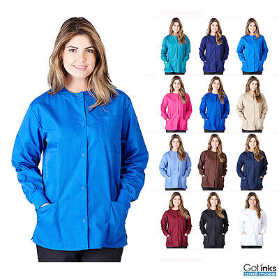 Women's Natural Uniforms 3-Pocket Medical Hospital Nursing Warm Up Scrubs Jacket