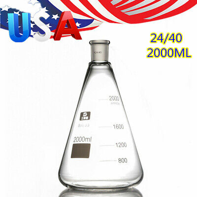 2000ml Glass Erlenmeyer Flask Borosilicate Glass 3.3 Conical Bottle Normal Neck