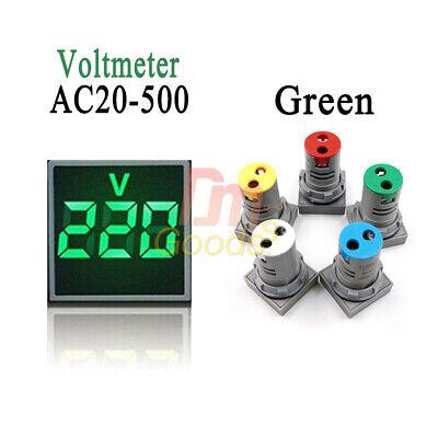 Green 22mm Ac 20-500v Square Digital Led Voltmeter Voltage Gauge Meter Tester