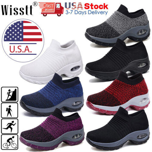Women's Air Cushion Sneakers Mesh Walking Slip-On Running Gy