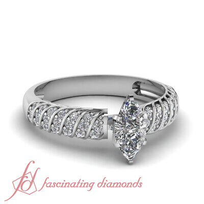 .70 Ct Marquise Cut SI2 Diamond Rope Style Engagement Ring Pave Set E-Color GIA