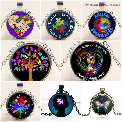 Autism Awareness Butterfly Tree Cabochon Glass Multi Style Pendant Necklace  New - Autism Jewelry