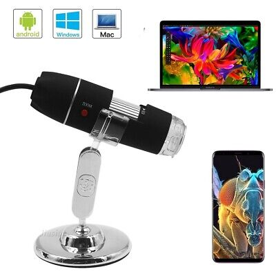 2 Mega Pixel Hd 1600x Usb 2.0 Digital Microscope Endoscope Magnifier 8led Stand