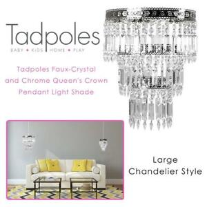 NEW Tadpoles Faux-Crystal and Chrome Queens Crown Pendant Light Shade, Large, Chandelier Style Condtion: New, Large
