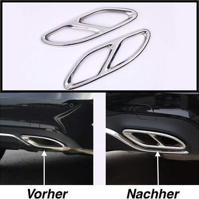 Links + Rechts Chrom Edelstahl Auspuffblende Auspuff Abdeckung Für Mercedes (205