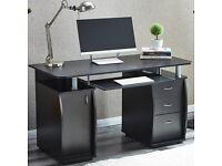 BLACK AND WHITE 3 DRAWER COMPUTER OFFICE DESKS.