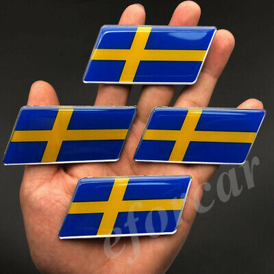 Used, 4x Sweden Flag Car Emblem Badge Volvo Saab Motorcycle Fuel Tank Decal Sticker for sale  China