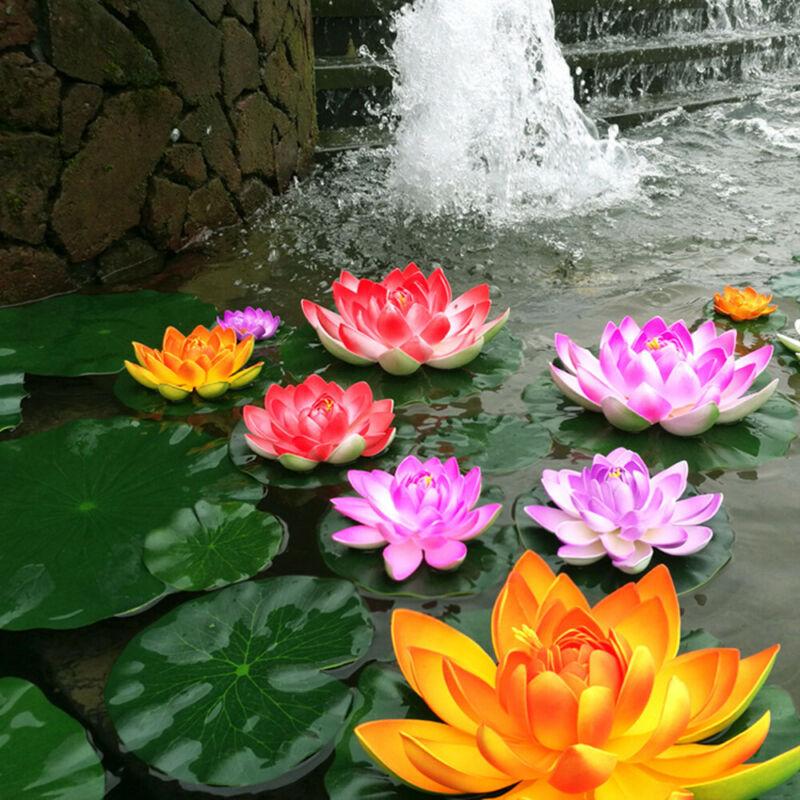 10pcs Artificial Flower Lotus Pad Floral Pond Tank Lillies Wedding Home Decor