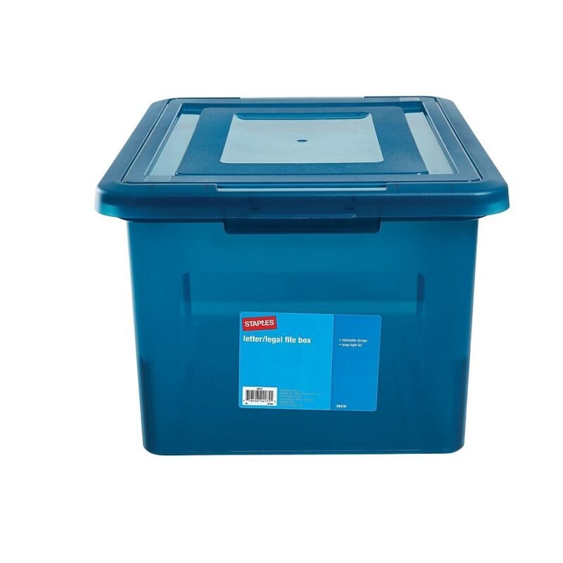Staples Letter/Legal File Box Translucent Blue (140086) 749129