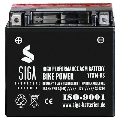 SIGA 14Ah 12V AGM Motorrad Batterie YTX14-BS Startkraft 220A/EN Motorradbatterie