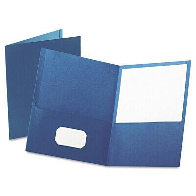 Oxford 57502 25-pc. Embossed Leather Grain Paper 2-pocket Folder Blue New
