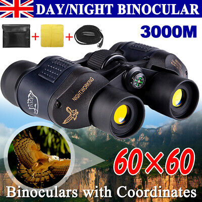 60x60 Day/Night Military Army Zoom Powerful Binoculars Optics Hunting Camping UK