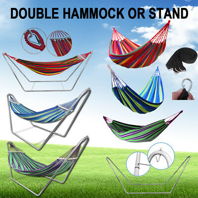 Outdoor Double Hammock Bed Steel Stand Swinging Camping Hanging Tree Strap Hook