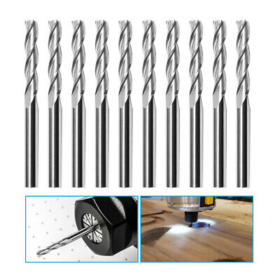 10pcs 18 Double Flute Spiral Upcut Shank End Mill Cnc Router Bits Tool