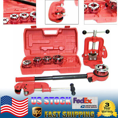 Plasticmetal Pipe Threader Ratchet Type With 5 Dies Pipe Cutter 2 Clamp