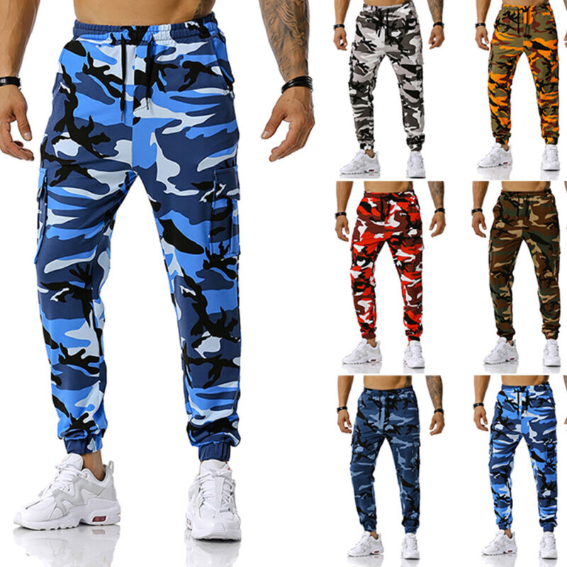 ❤️mens Camo Camouflage Gym Sports Drawstring Elastic Pants Jogging Work Trousers