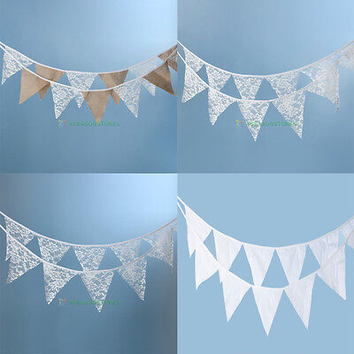 12 Flags Lace Fabric String Flags Wedding Birthday Party Pennant Bunting Banner - Fabric Pennant Banner