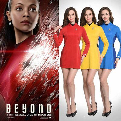 Star Trek 3 Uhurae Cosplay Kostüm Rot Blau - Rote Star Trek Kleid