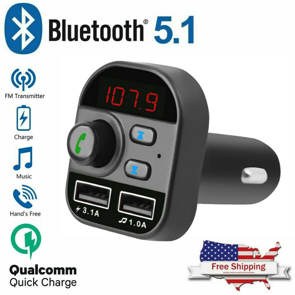 Bluetooth In-Car Wireless Adapter FM Transmitter MP3 Radio Car Kit 2 USB Charger Consumer Electronics