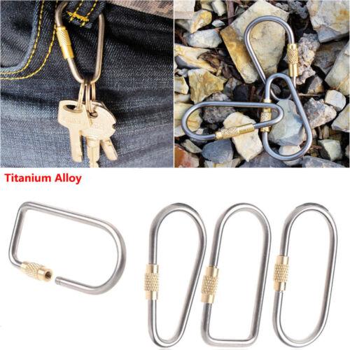 Titanium Carabiner D Shape Alloy Screw Lock Hook Keychain Camping Buckle