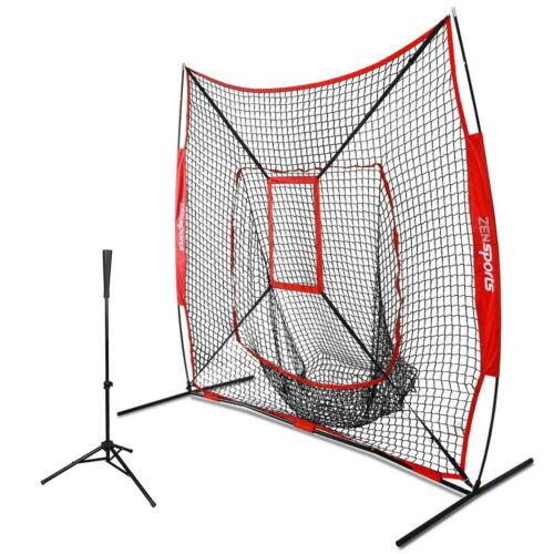 Baseball PracticeTraining Net 7×7 w Strike Zone 28-42″ Adjustable Batting Tee Baseball & Softball