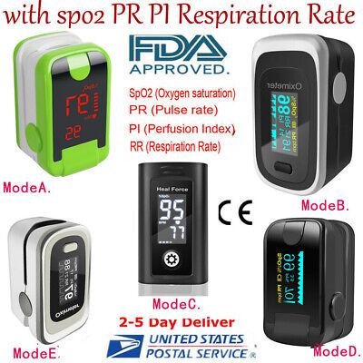 Oled Fingertip Pulse Oximeter Heart Rate Monitor Spo2 Pr Pi Respiration Fdace A