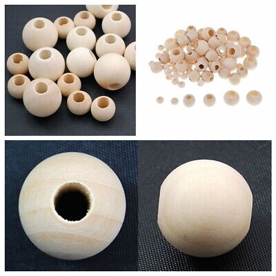 Natural Wood Large Hole Wooden Beads for Macrame European Charms Crafts 10-40mm - Large Wood Beads