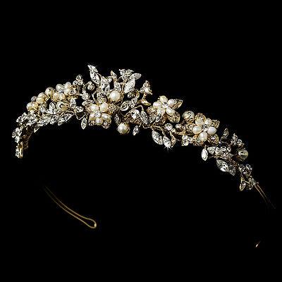 Champagne Gold Ivory Freshwater Pearl Rhinestone Bridal Tiara Crown Headpiece