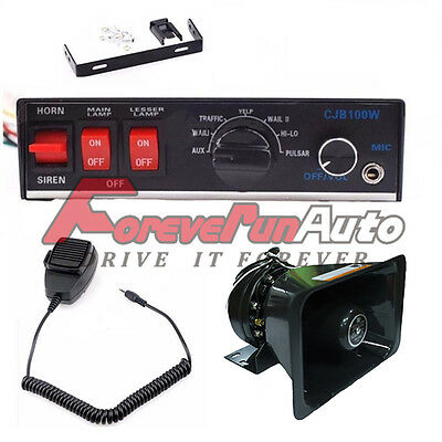 100w 12v 8 Sound Loud Car Warning Alarm Siren Horn Pa Speaker System
