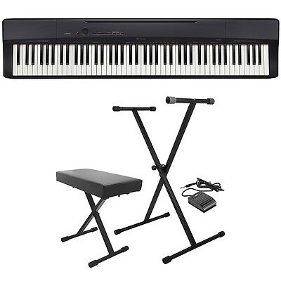 Casio Privia PX-160 88-Key Digital Piano Keyboard Black + St