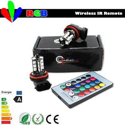 2pcs Wireless IR Remote 7-Color RGB H11/H8 LED Bulbs Fog Light DRL Driving Lamps