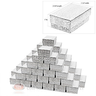 50 Silver Foil Cotton Filled Jewelry Gift Boxes 2 58 X 1 12 Charm Ring Box