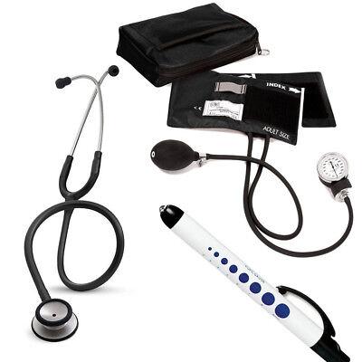 3M Littmann Classic II SE Stethoscope, PM Adult Sphygmomanometer, Case, Light