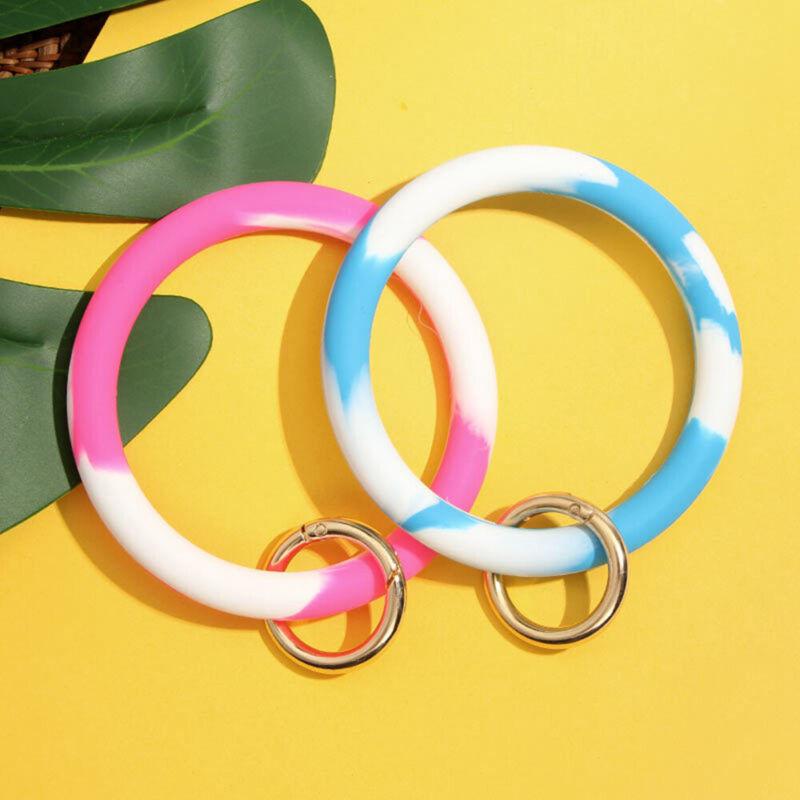 Fashion Wrist Strap Silicone Key Ring Wristlet Keychain Keyr