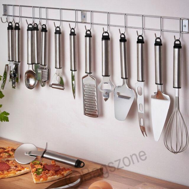 12 Piece Stainless Steel Kitchen Cooking Utensil Set Gadget Hanging Rack Holder
