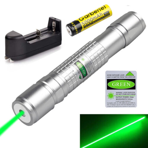 Military 20Mile Green 532nm Laser Pointer Pen Visible Beam 18650 Battery Charger