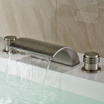 Classic Brushed Nickel Brass Waterfall LED Roman Tub Filler Faucet Bath Shower