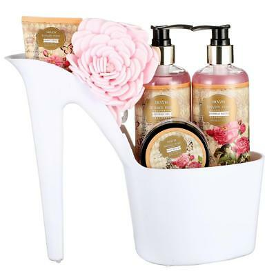 Draizee Women's Heel Shoe Spa Gift Set Rose Scented Bath Essentials Gift Basket