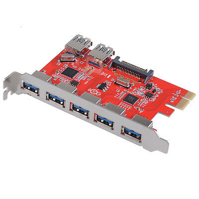 7 Port USB 3.0 HUB to PCI Express PCI-E Card Adapter Converter, 5 Inter 2 Outer