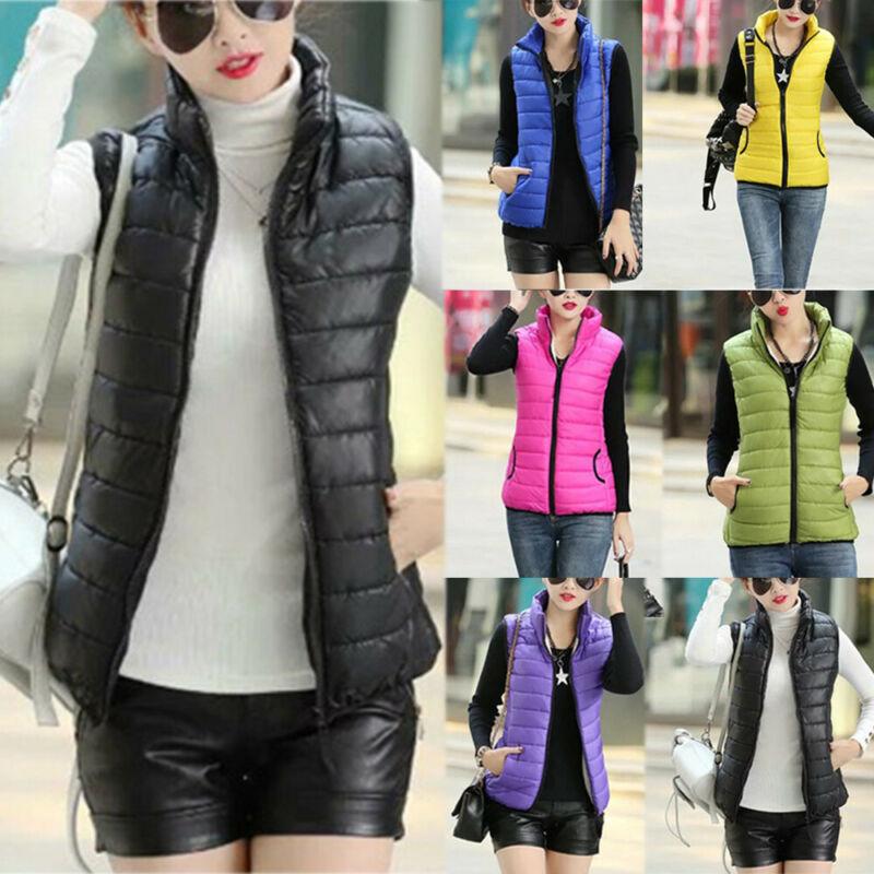Women Warm Vest Coat Stand Collar Jacket Slim Winter Parka O