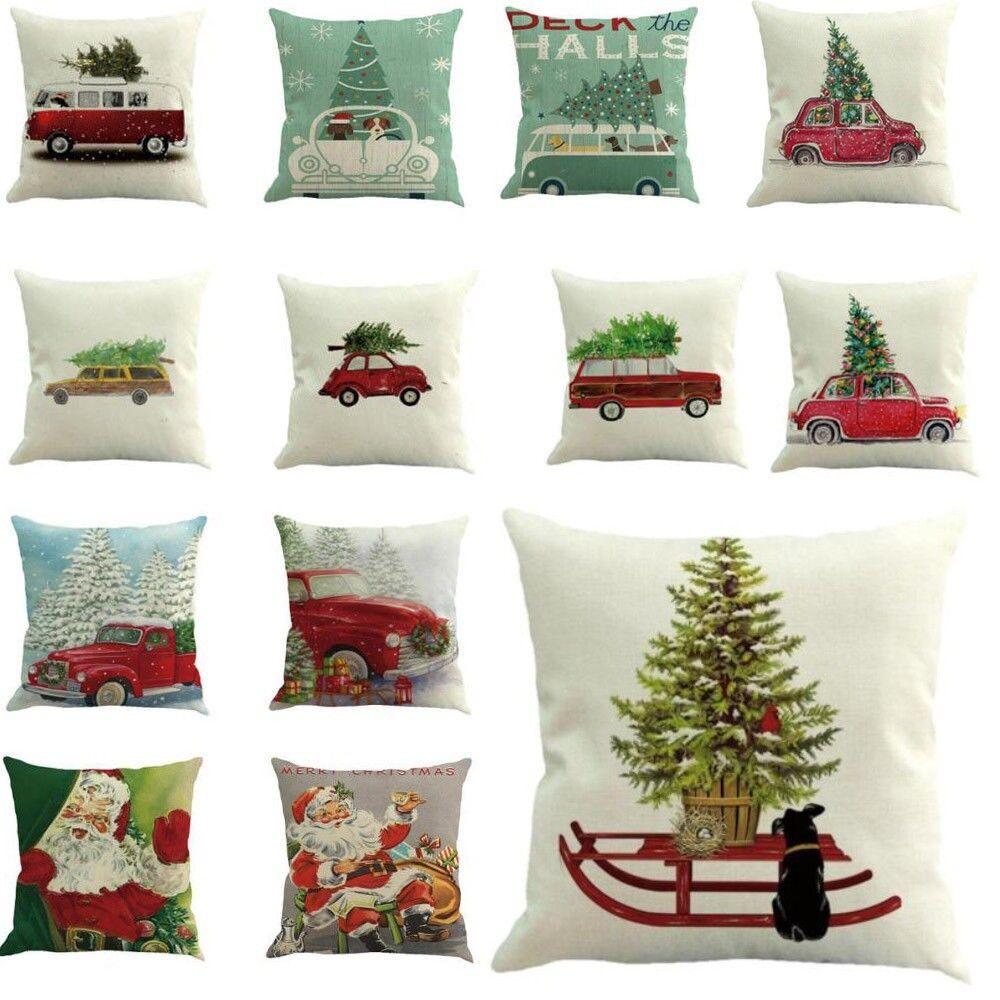 """18/"""" Merry Christmas Cotton Linen Home Décor Cushion Cover Decor Sofa Pillow Case"""