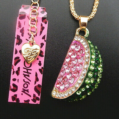 Green Pink Crystal Enamel Watermelon Pendant Betsey Johnson Sweater Necklace